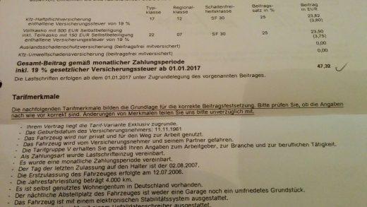 Kfz-Versicherung zum 01.01.2017